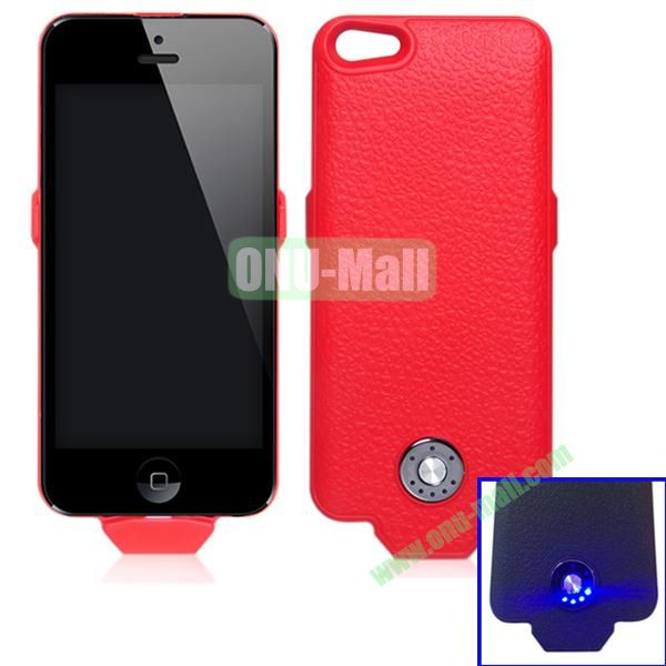 2500mAh Battery Case for iPhone 5S & 5 Support iOS7 and with Smart Power Indication (Red)