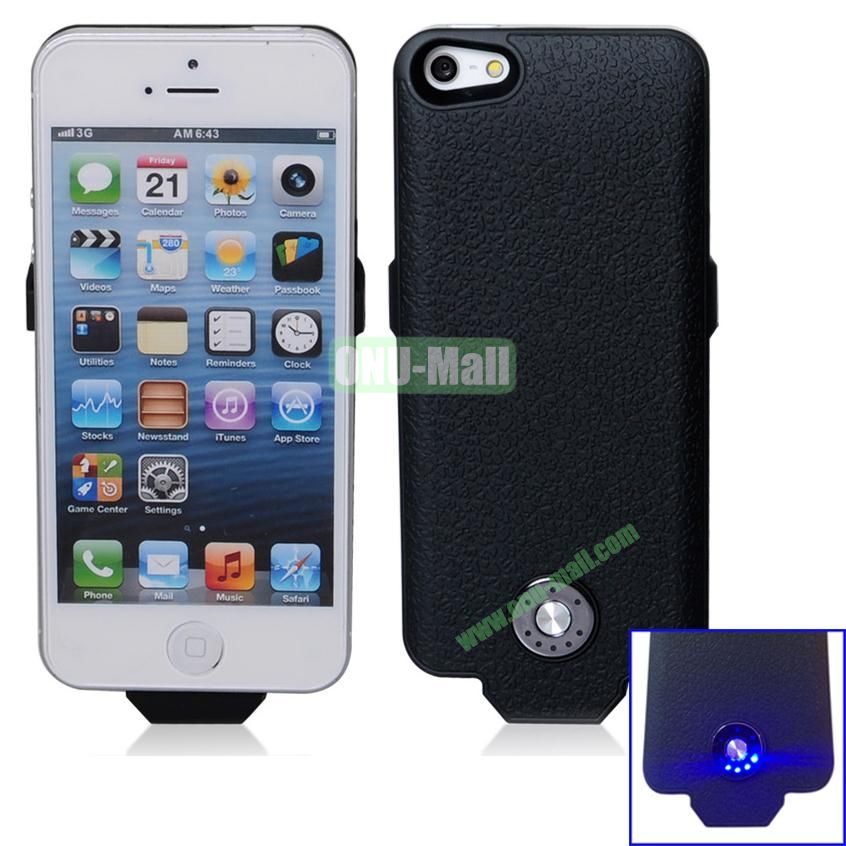 2500mAh Battery Case for iPhone 5S & 5 Support iOS7 and with Smart Power Indication (Black)