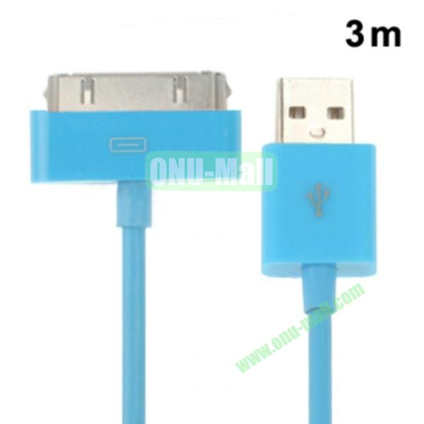 3m USB Cable for iPhone 4 & 4S, iPhone 3GS3G, New iPad (iPad 3)iPad 2iPad, iPod Touch(Blue)