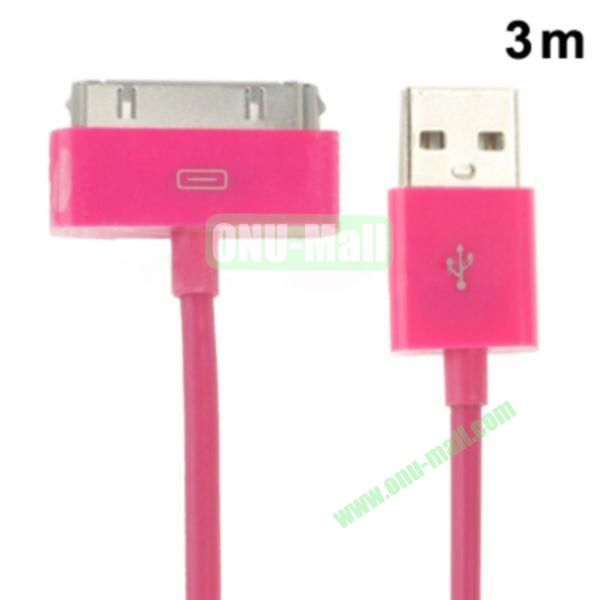 3m USB Cable for iPhone 4 & 4S, iPhone 3GS3G, New iPad (iPad 3)iPad 2iPad, iPod Touch(Rose)