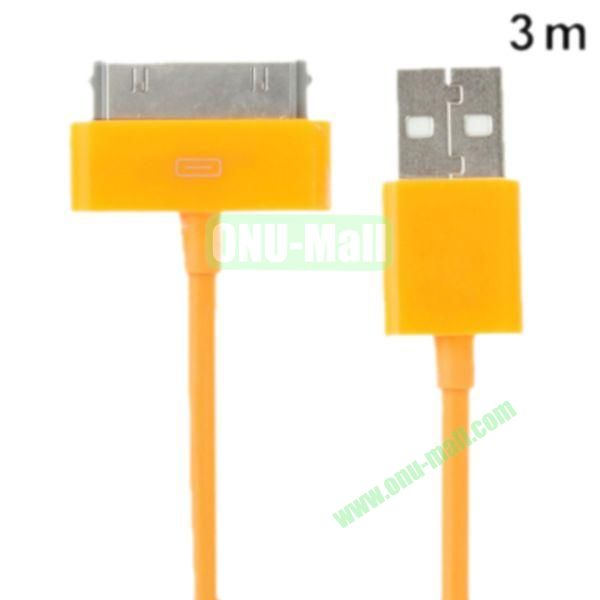 3m USB Cable for iPhone 4 & 4S, iPhone 3GS3G, New iPad (iPad 3)iPad 2iPad, iPod Touch(Yellow)