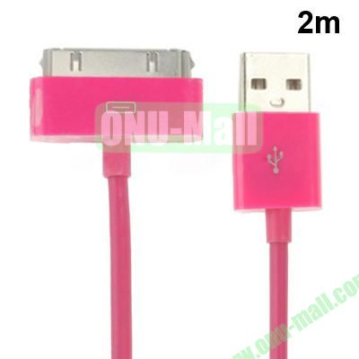 2m USB Cable for iPhone 4 & 4S, iPhone 3GS3G, New iPad (iPad 3)iPad 2iPad, iPod Touch(Rose)