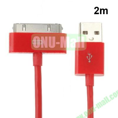 2m USB Cable for iPhone 4 & 4S, iPhone 3GS3G, New iPad (iPad 3)iPad 2iPad, iPod Touch(Red)