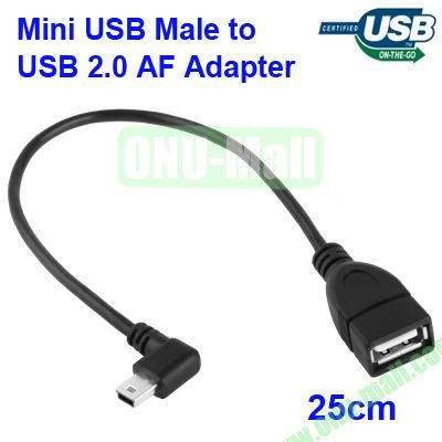 25cm 90 Degree Mini USB Male to USB 2.0 AF Adapter Cable with OTG Function