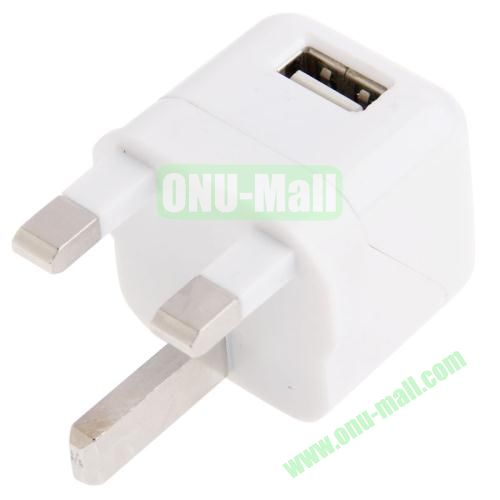 5V  1A Dual Tone UK Plug USB Charger Adapter for iPhone 5S & 5C & 5  iPod Touch 5(White)