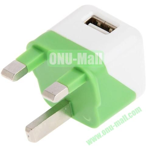 5V  1A Dual Tone UK Plug USB Charger Adapter for iPhone 5S & 5C & 5  iPod Touch 5 (White+Green)