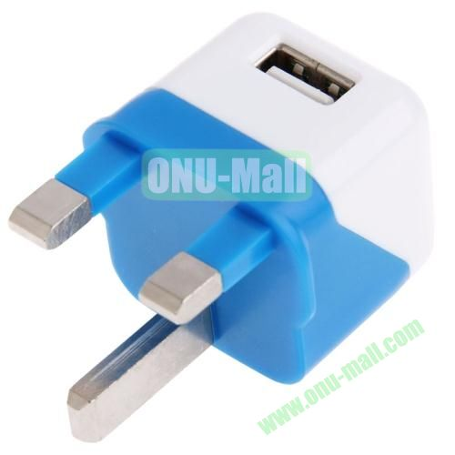 5V  1A Dual Tone UK Plug USB Charger Adapter for iPhone 5S & 5C & 5  iPod touch 5(White+Blue)