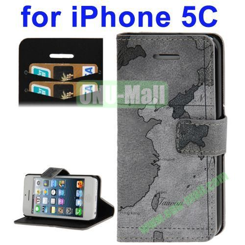 Leather Material Map Pattern Case for iPhone 5C with Credit Card Slots & Holder(Grey)