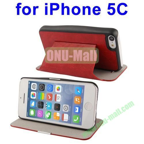 Crazy Horse Texture Leather Case for iPhone 5C with Holder(Red)