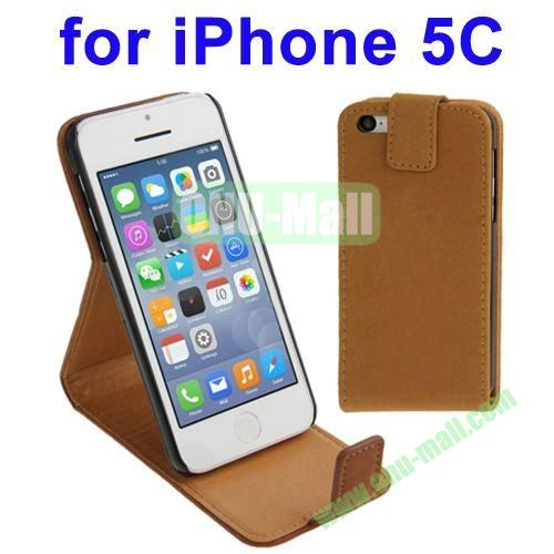 Vertical Flip Leather Case for iPhone 5C with Holder(Brown)