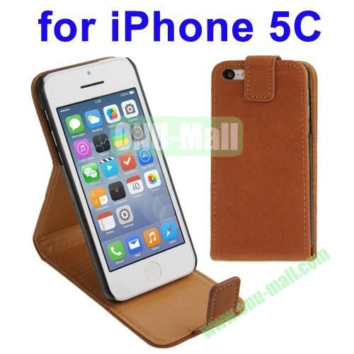 Vertical Flip Leather Case for iPhone 5C with Holder(Coffee)