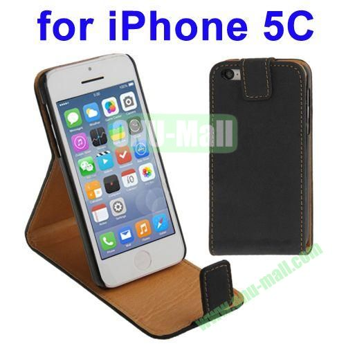 Vertical Flip Leather Case for iPhone 5C with Holder(Black)