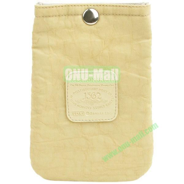 4.3 inch Nylon Cloth Pouch Bag with Press Stud (Yellow)