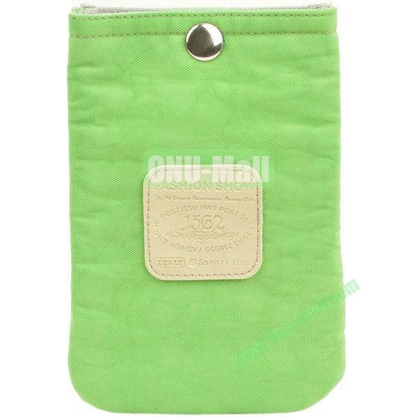 4.3 inch Nylon Cloth Pouch Bag with Press Stud (Green)