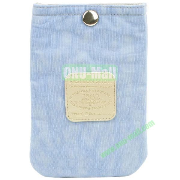 4.3 inch Nylon Cloth Pouch Bag with Press Stud (Light Blue)