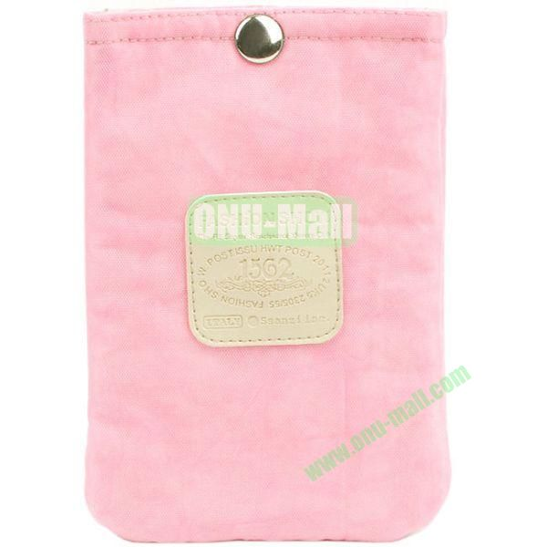 4.3 inch Nylon Cloth Pouch Bag with Press Stud (Pink)