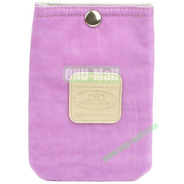 4.3 inch Nylon Cloth Pouch Bag with Press Stud (Purple)