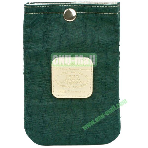 4.3 inch Nylon Cloth Pouch Bag with Press Stud (Dark Blackish Green)