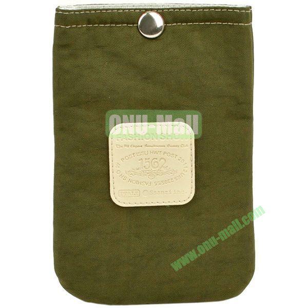 4.3 inch Nylon Cloth Pouch Bag with Press Stud (Dark Green)
