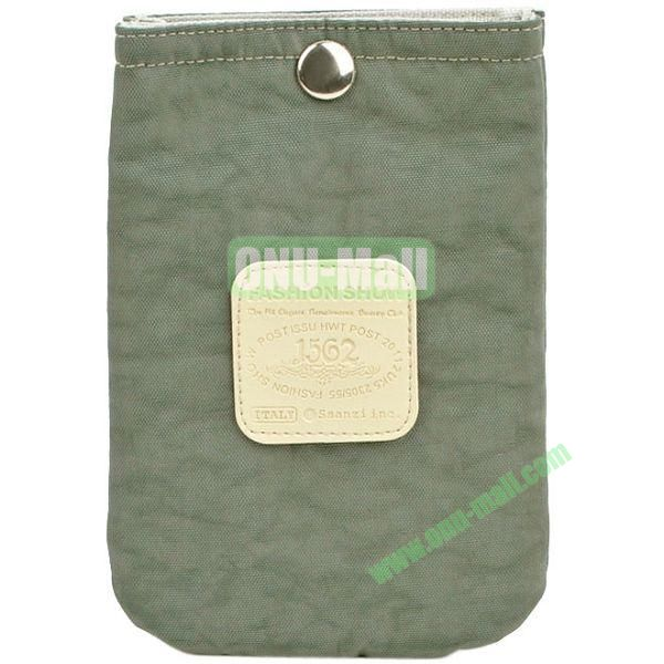 4.3 inch Nylon Cloth Pouch Bag with Press Stud (Grey)
