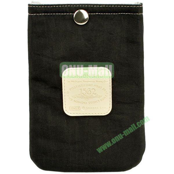 4.3 inch Nylon Cloth Pouch Bag with Press Stud (Black)
