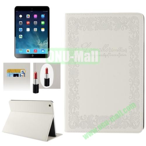 Embossing Texture Smart Cover for iPad Air Case with Credit Card Slots and Wake up Function (White)