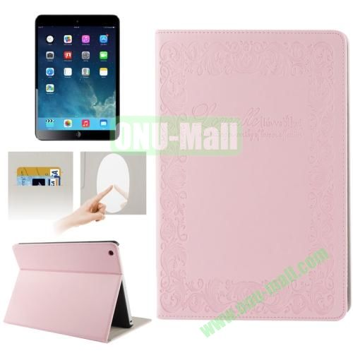 Embossing Texture Smart Cover for iPad Air Case with Credit Card Slots and Wake up Function (Pink)