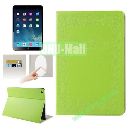 Embossing Texture Smart Cover for iPad Air Case with Credit Card Slots and Wake up Function (Green)