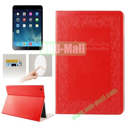 Embossing Texture Smart Cover for iPad Air Case with Credit Card Slots and Wake up Function (Red)