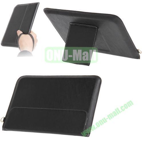 Business Style Leather Carry Bag for iPad Mini and iPad Mini Retina  iPad Mini 3 with Lanyard + Holder (Black)