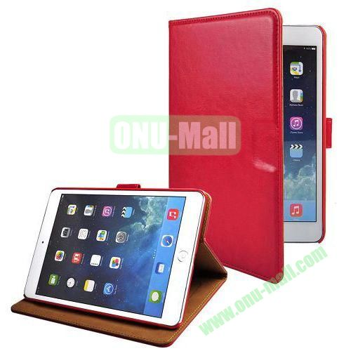 Crazy Horse Texture Stand Leather Case for iPad Mini Retina  iPad Mini 3 With Credit Card Slots (Red)