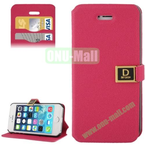 Gravel Texture Leather Case for iPhone 5S & 5 with Credit Card Slots and Holder  (Magenta)