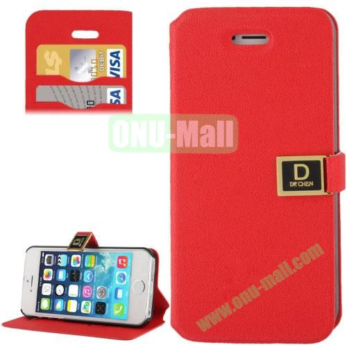 Gravel Texture Leather Case for iPhone 5S & 5 with Credit Card Slots and Holder (Red)