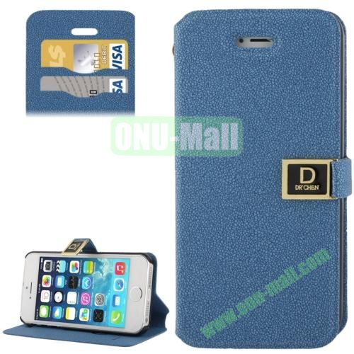 Gravel Texture Leather Case for iPhone 5S & 5 with Credit Card Slots and Holder  (Blue)