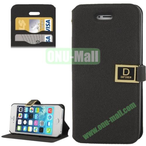 Gravel Texture Leather Case for iPhone 5S & 5 with Credit Card Slots and Holder (Black)