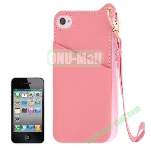 Cross Texture Leather Coated TPU Case for iPhone 4S & 4 with Credit Card Slot & Lanyard (Pink)