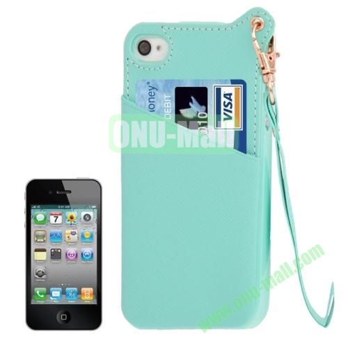 Cross Texture Leather Coated TPU Case for iPhone 4S & 4 with Credit Card Slot & Lanyard (Light Green)