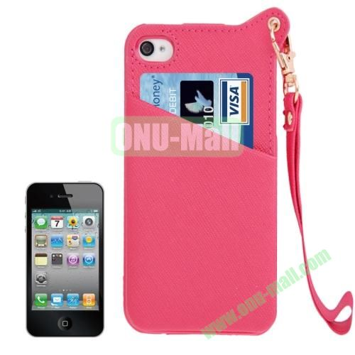 Cross Texture Leather Coated TPU Case for iPhone 4S & 4 with Credit Card Slot & Lanyard (Magenta)