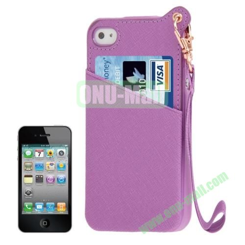 Cross Texture Leather Coated TPU Case for iPhone 4S & 4 with Credit Card Slot & Lanyard (Purple)