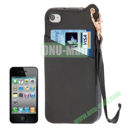 Cross Texture Leather Coated TPU Case for iPhone 4S & 4 with Credit Card Slot & Lanyard (Black)