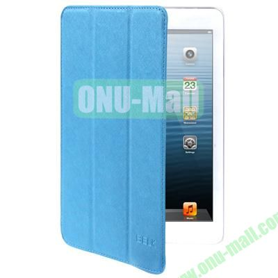Belk Series Cross Texture 3-Flod Leather Case for iPad Mini  Mini 2 Retina with Sleep Function (Blue)