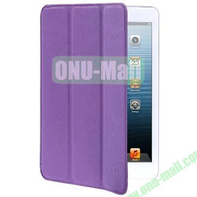 Belk Series Cross Texture 3-Flod Leather Case for iPad Mini  Mini 2 Retina with Sleep Function (Purple)