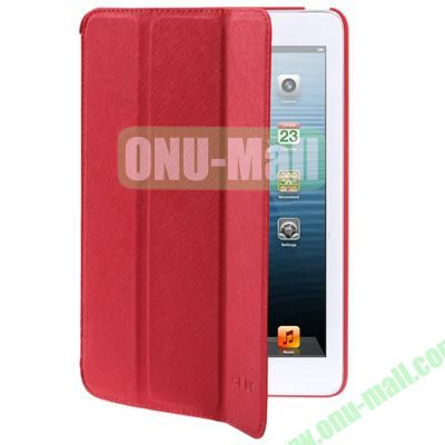 Belk Series Cross Texture 3-Flod Leather Case for iPad Mini  Mini 2 Retina with Sleep Function (Red)