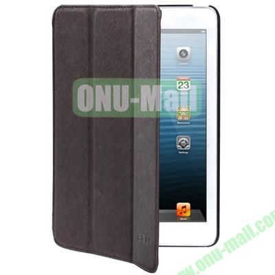 Belk Series Cross Texture 3-Flod Leather Case for iPad Mini  Mini 2 Retina with Sleep Function (Coffee)