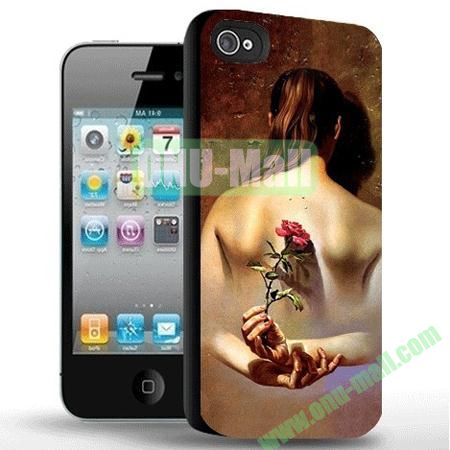 Rose Hidden Behind the Lady's Back Pattern 3D Flash Image Hard Case for iPhone 5S & 5