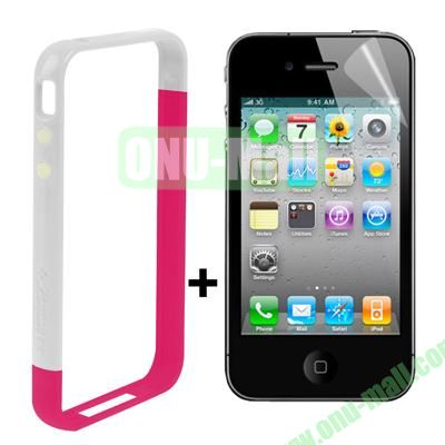 Dual Tone Bumper Case for iPhone 4S & 4 with Front and Back Screen Protector (White + Magenta)