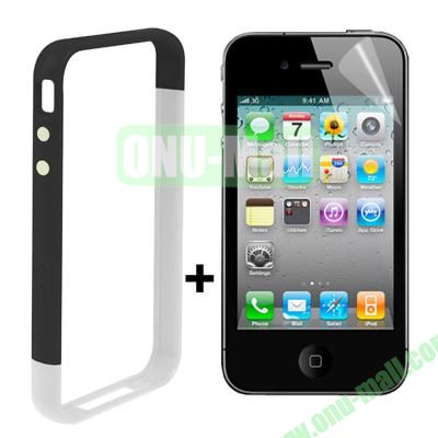 Dual Tone Bumper Case for iPhone 4S & 4 with Front and Back Screen Protector (White + Black)