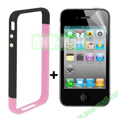 Dual Tone Bumper Case for iPhone 4S & 4 with Front and Back Screen Protector (Pink + Black)