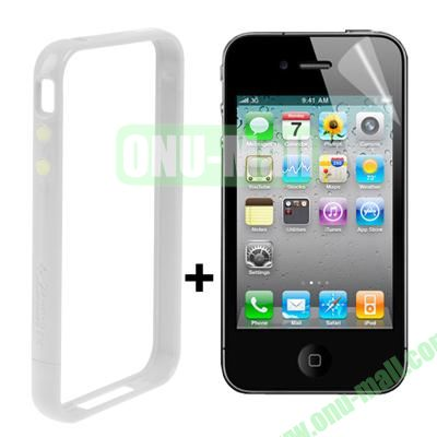 Dual Tone Bumper Case for iPhone 4S & 4 with Front and Back Screen Protector (White)