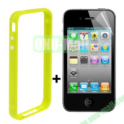 Dual Tone Bumper Case for iPhone 4S & 4 with Front and Back Screen Protector (Light Green)